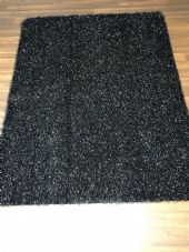 ROMANY WASHABLES 120x160CM X LARGE SIZE SPARKLY SINGLE MAT BLACK-SILVER GEL BACK